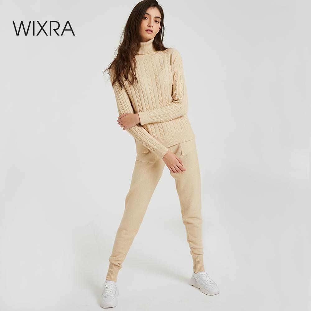 Wixra tricoté femmes pull ensembles col roulé à manches longues chandails hauts + poches pantalons longs solide 2 pièces costumes Costume d'hiver