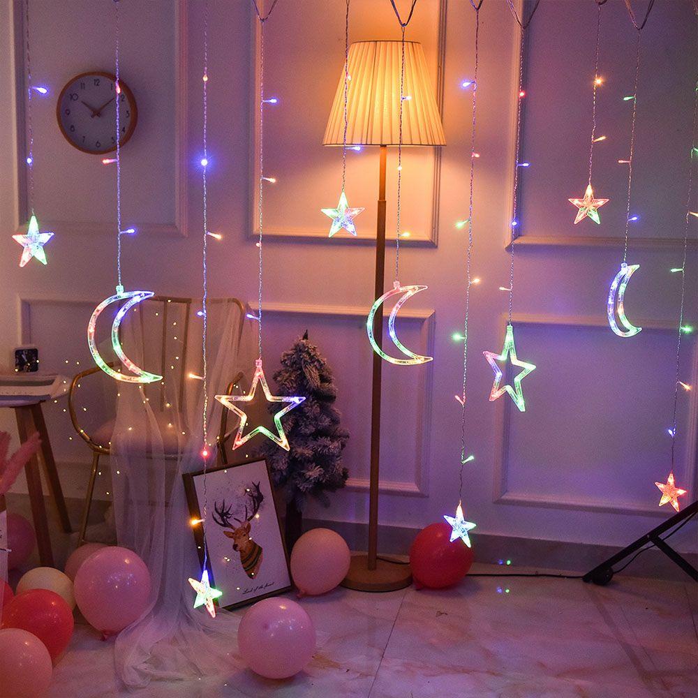 220V EU Plug 3.5M LED lune étoile lampe fée rideau lumière guirlande de noël chaîne lumières lampe pour nouvel an décoration de mariage