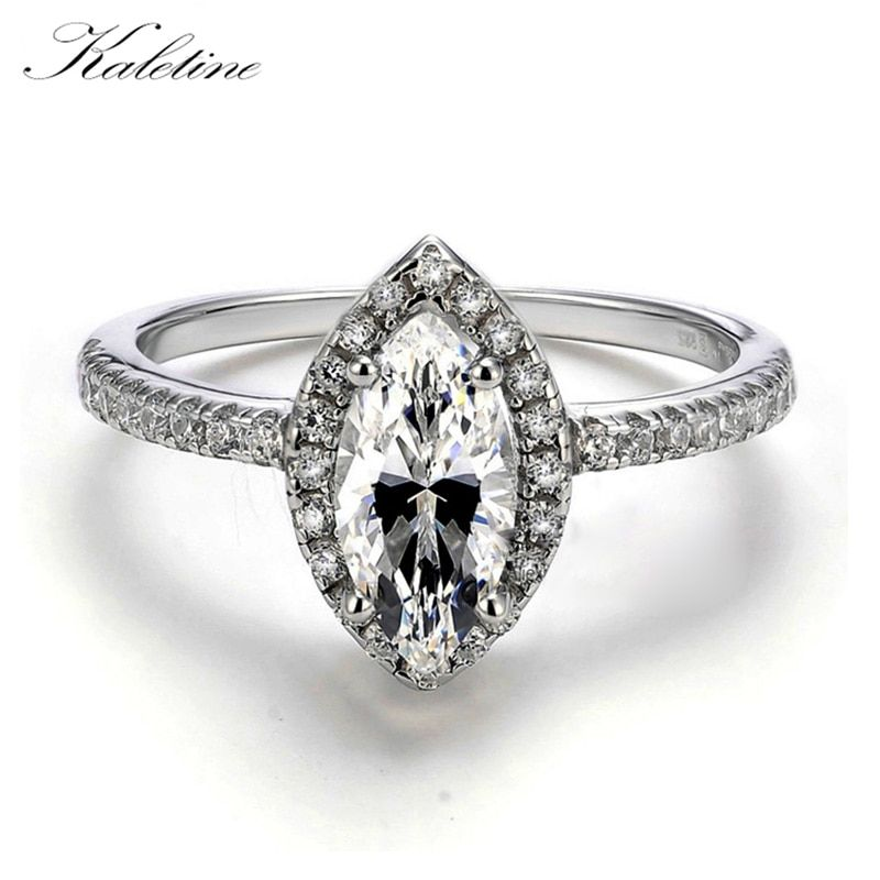 Sterling Silver Jewelry Big Marquise CZ Simulated Stone 925 Sterling Silver Woman Engagement Wedding Ring
