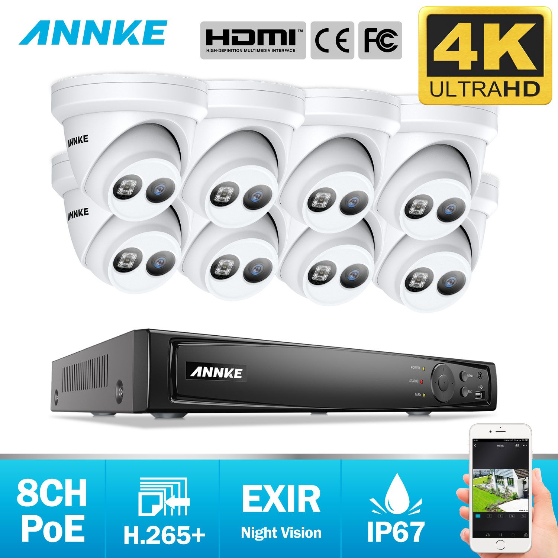 ANNKE 8CH 4K Ultra HD POE Netzwerk Video Security System 8MP H.265 NVR Mit 8X8 megapixel 30m EXIR Nachtsicht Wetterfeste IP Kamera