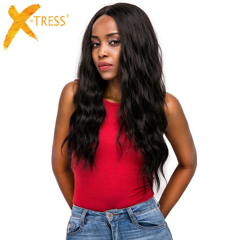 Cheveux synthétiques dentelle avant perruques partie libre X-TRESS Ombre brun couleur noire longue vague naturelle à la mode dentelle cheveux perruque pour les femmes noires