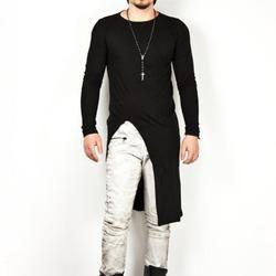 Pria Kepribadian Sisi Split Irregular Lengan Panjang T Shirt Punk Atasan Pria Klub Malam Hip Hop Pakaian Penyanyi Kostum Panggung