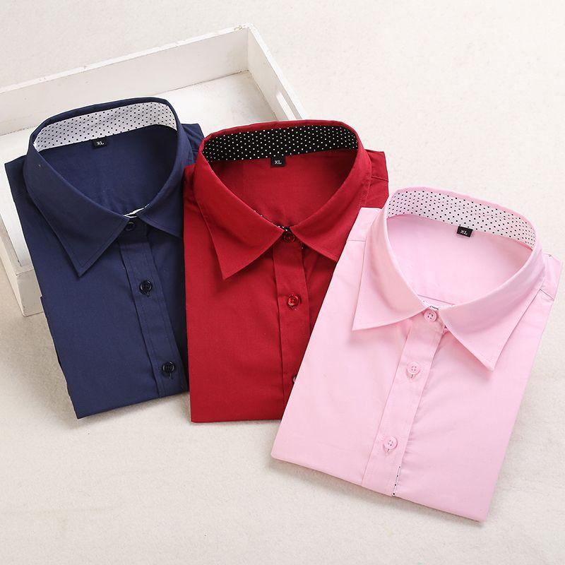 Dioufond coton femmes chemise à manches longues Blouse rouge à pois Blusas Femininas 5XL grande taille col rabattu femmes hauts à la mode