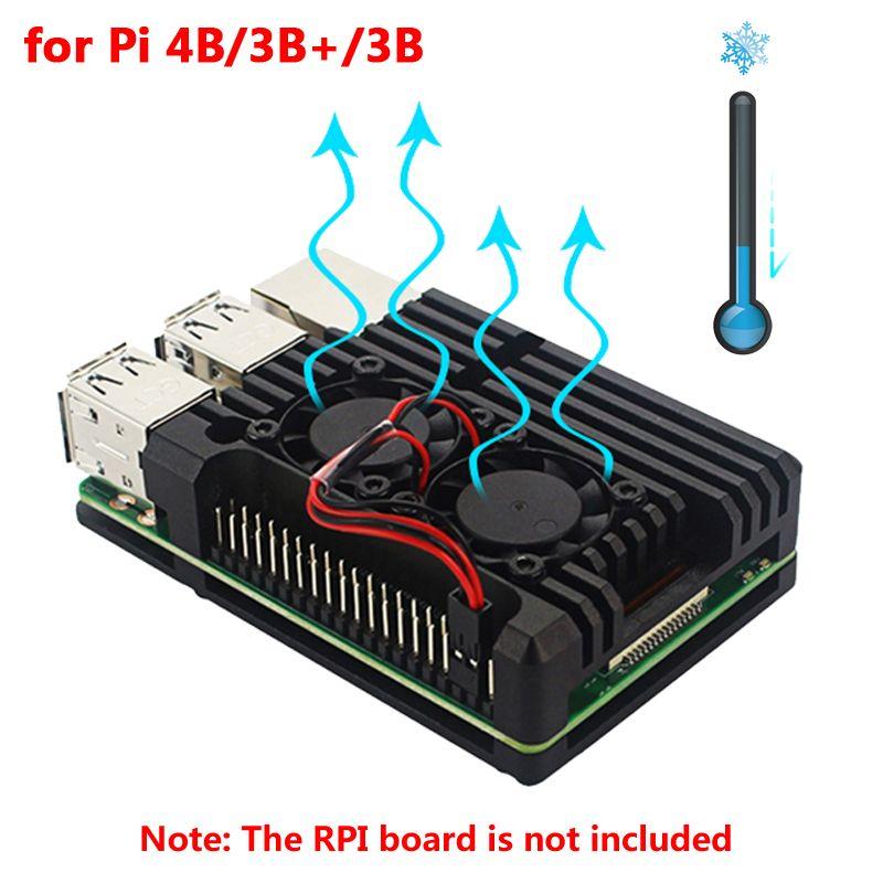 Raspberry Pi 4 boîtier en aluminium boîtier en métal framboise Pi 3 boîtier en aluminium avec double ventilateur dissipateur thermique pour framboise Pi 4 3 modèle B 3B Plus