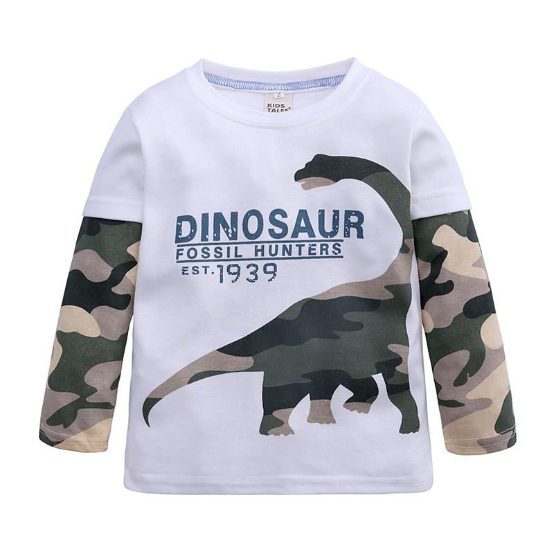 2-8 Years Kids Boys Cartoon Long Sleeve T Shirts Dinosaur Print Fashion Cotton Pullover Child Comfy Basic Tees 2019 New