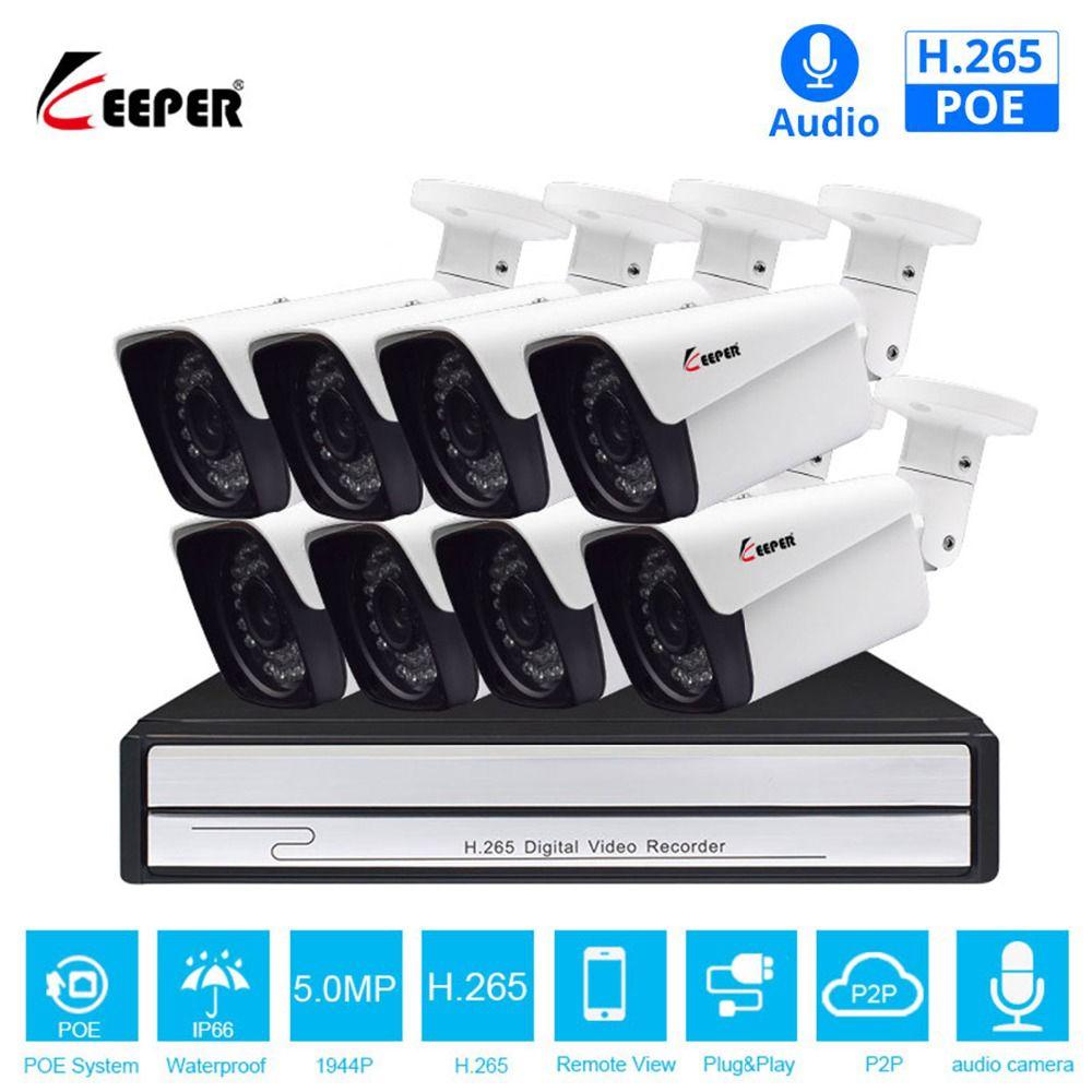 Keeper H.265 8CH 5MP POE Sicherheit Kamera System Kit Audio Record IP Kamera IR Im Freien Wasserdichte CCTV Video Überwachung NVR set