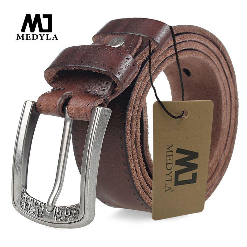 MEDYLA hommes ceinture 100% peau de vache alliage boucle ardillon couleur bleue personnalité choix peau de vache mâle sangle Jeans ceinture cadeau
