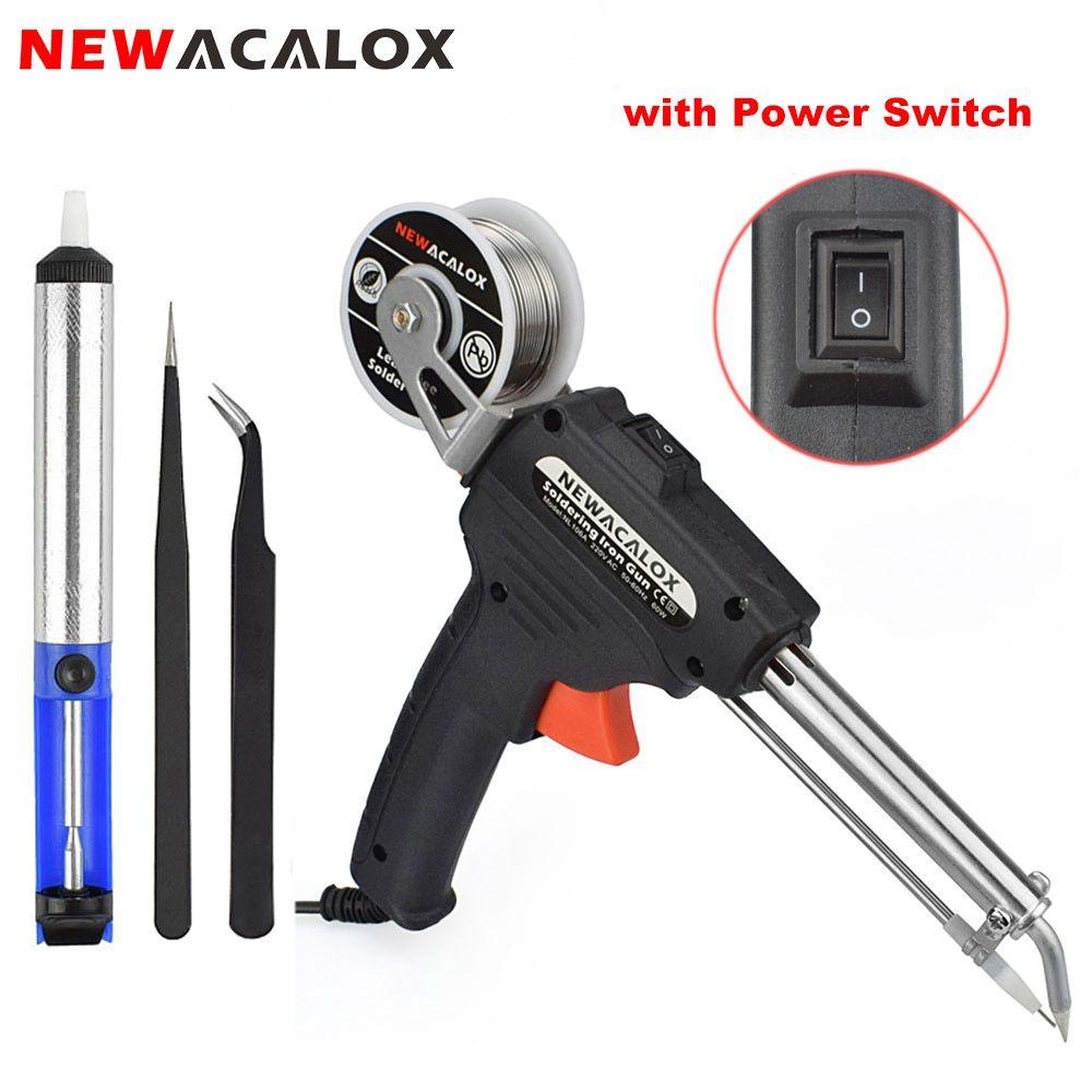 NEWACALOX 220 V 60 W EU automatique envoyer étain pistolet électrique fer à souder Station de reprise pompe à dessouder outil de soudage fil de soudure