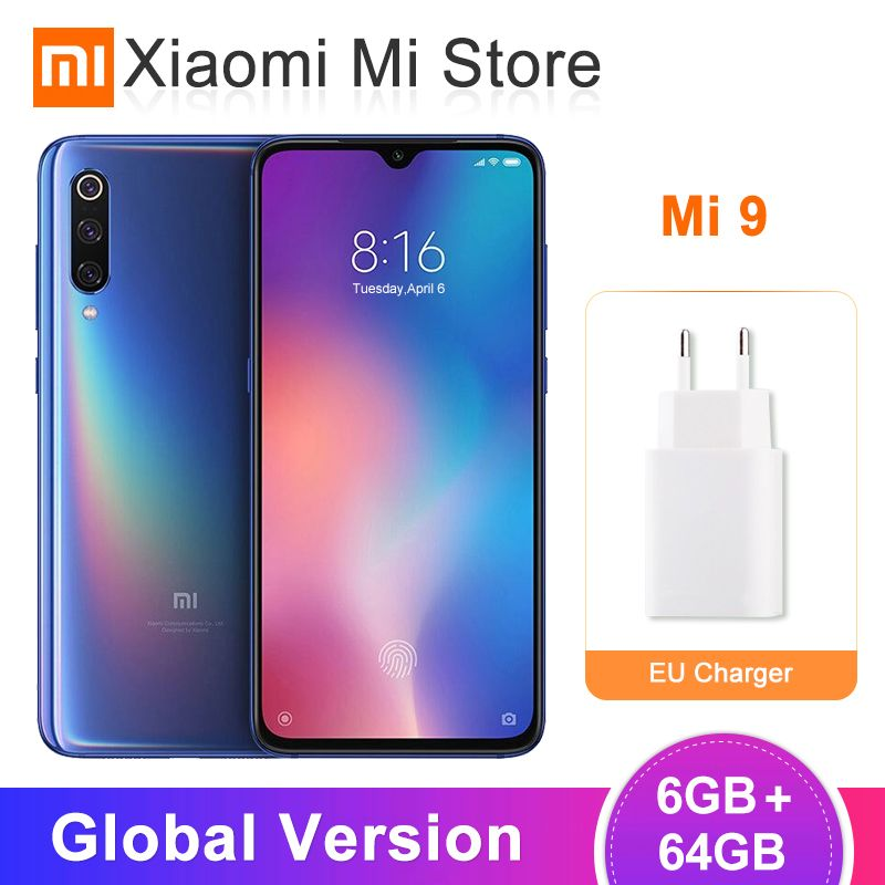 Version mondiale Xiao mi mi 9 mi 9 Smartphone 6GB 64GB Snapdragon 855 Octa Core 6.39 48MP Triple caméra NFC QC 4.0