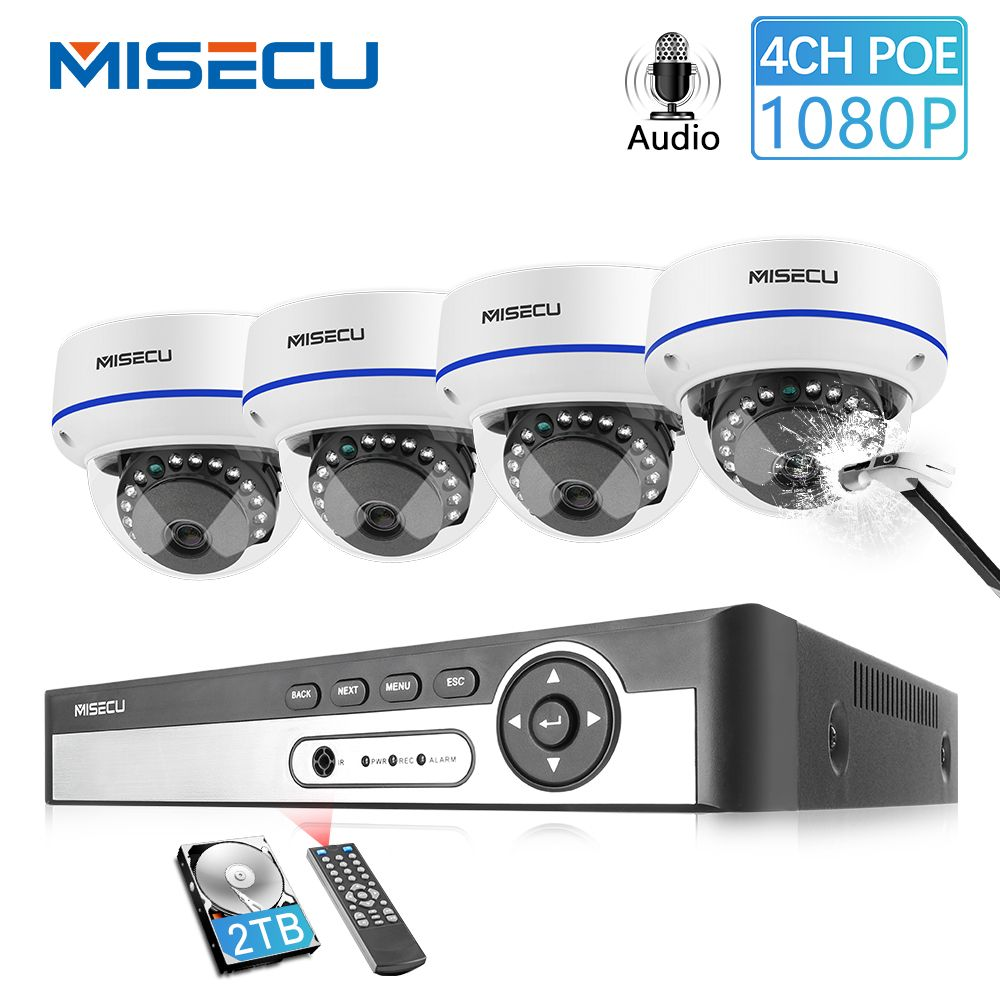 MISECU 4CH 5MP POE NVR Video Security System 2/4PCS 2MP 1080P POE IP Dome Kamera Audio vandal Proof CCTV Kamera Überwachung Kit