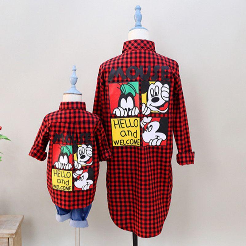Famille correspondant vêtements manches longues tenues maman et filles blouse chemise d'été Monther et fille enfants famille Look vêtements