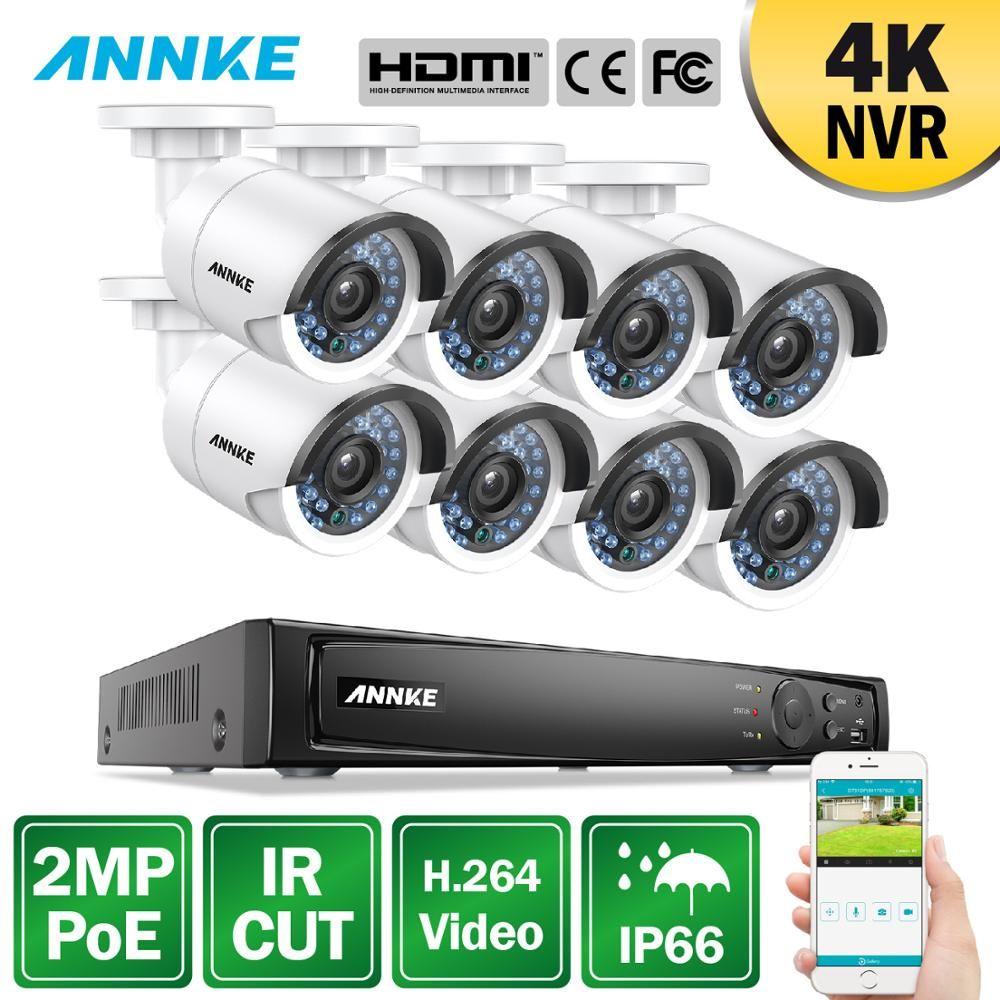 ANNKE 8CH 1080P POE NVR Sicherheit System 4K NVR Mit 8PCS 4mm 2MP Wetterfeste IR CUT nachtsicht Kameras H.264 Überwachung Kit