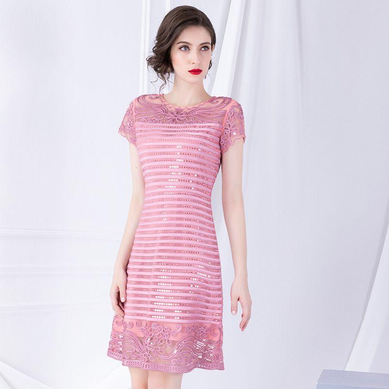 Exquisite pailletten bestickte kleid 2019 frühen herbst neue kurzarm nähte EINE damen kleider