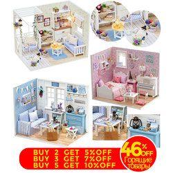 Rumah Boneka Furniture DIY Miniatur Model Penutup Debu 3D Rumah Boneka Kayu Hadiah Natal Mainan untuk Anak Kucing Diary H013 # E