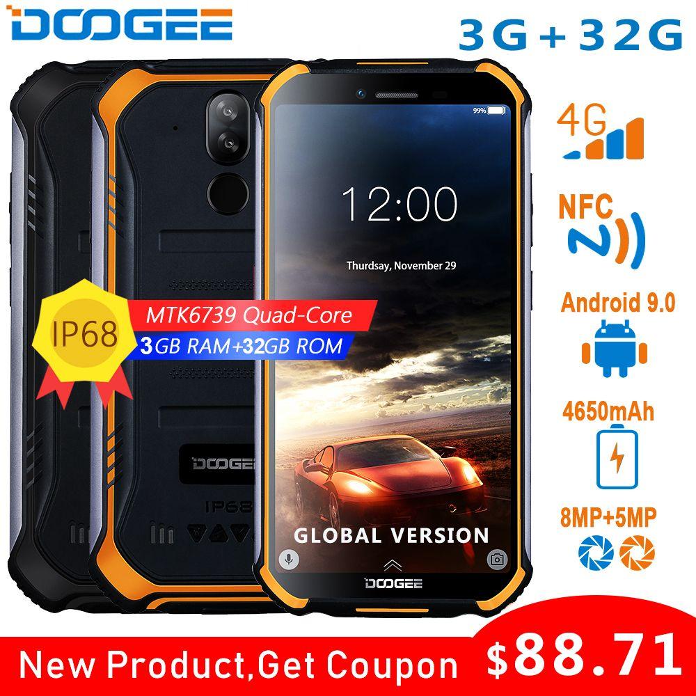 DOOGEE S40 4GNetwork Téléphone Portable Robuste 5.5 pouces 4650mAh MT6739 Quad Core 3 GO RAM 32 GO ROM Android 9.0 8.0MP IP68/IP69K