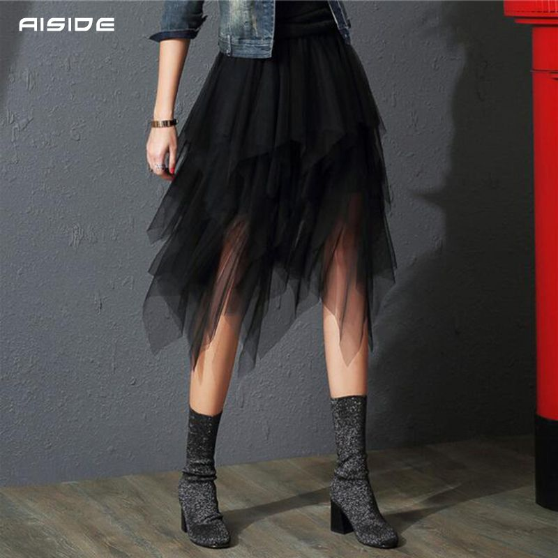 2019 Tulle jupes femmes mode élastique taille haute maille Tutu Maxi Jupe plissée longue jupes Midi Jupe Saias Faldas Jupe Femme