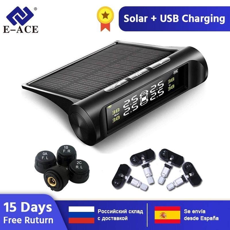 E-ACE Solar Power TPMS Car Tire Pressure Alarm Monitor System Auto Security Alarm Systems Tyre Pressure Temperature Warning