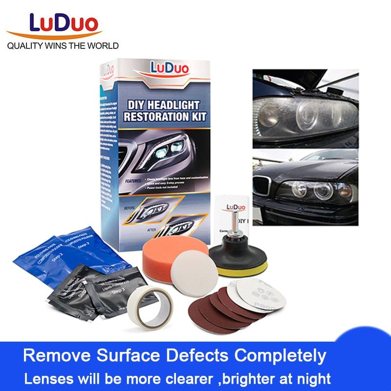 LuDuo bricolage Kits de restauration de polissage des phares systèmes de pâte propre des phares lavage de voiture lampe de tête éclaircissant réparation peinture soin