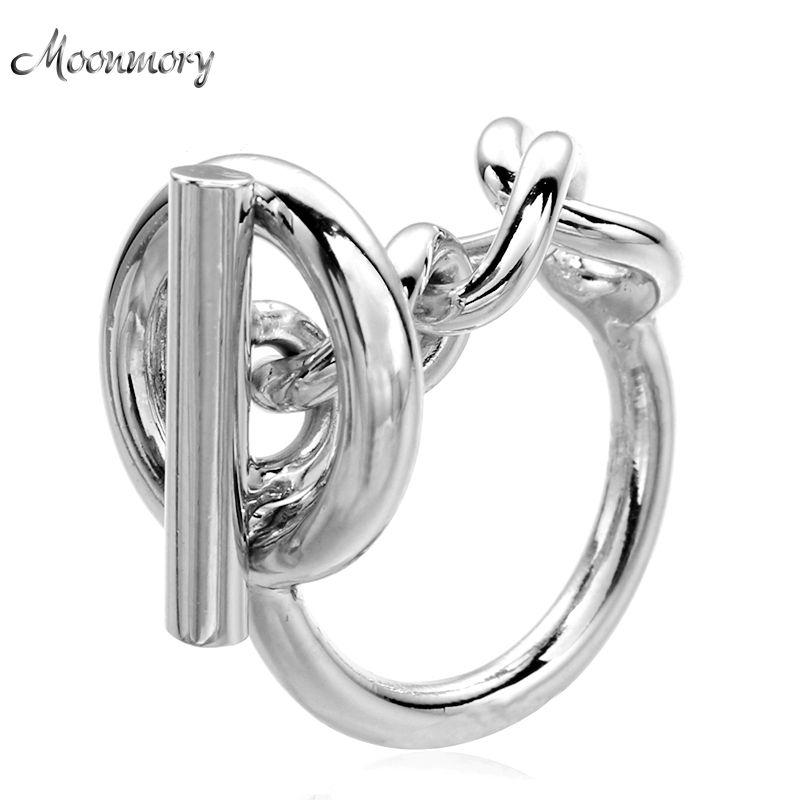 Moonmory 925 en argent Sterling corde chaîne anneau avec cerceau serrure pour les femmes français populaire fermoir anneau en argent Sterling fabrication de bijoux