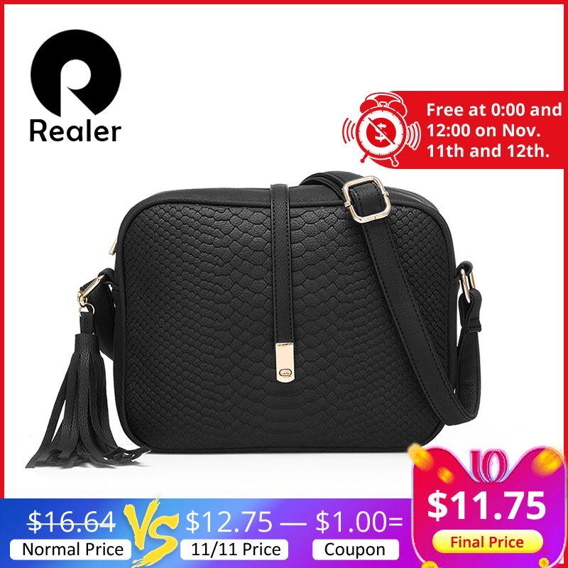 REALER small shoulder bag for women messenger bags ladies retro PU leather handbag purse with tassels female crossbody bag