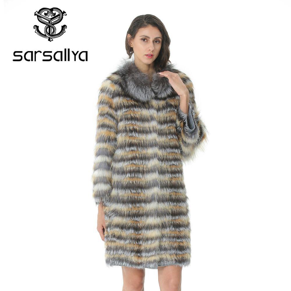 Gestrickte Pelzmantel Frauen Lange Streifen Mantel Mit Kragen Für Damen Echt Pelzmantel Fuchs Weibliche Kleidung Herbst Warme Luxus mantel 2019