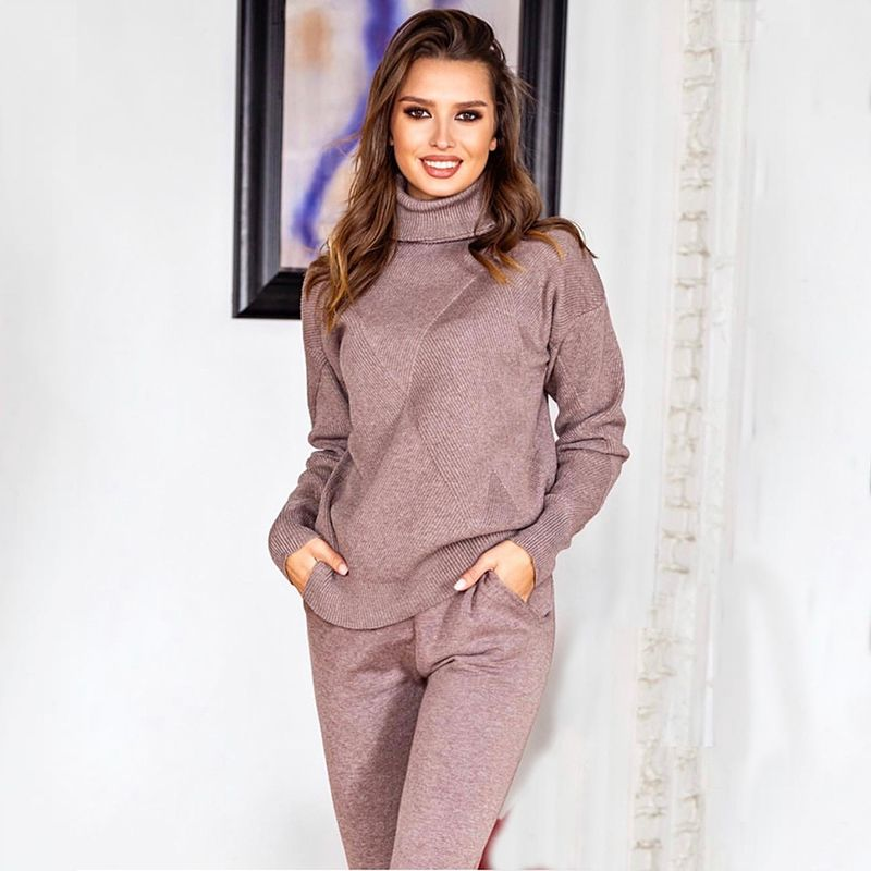 Women sweater suit and sets Casual Autumn Winter 2PCS Track Suit Casual female Knitted Trousers+Jumper Tops Costume Clothing Set