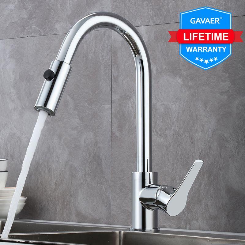 Gavaer robinets de cuisine poignée unique retirer le robinet de cuisine pivotant degrés mélangeur d'eau robinet Chrome printemps bouton buse robinet d'eau