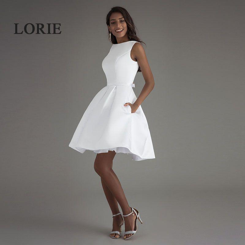 LORIE Mini courte plage robes de mariée 2019 Vestido Noiva Praia Simple blanc réel Photo dos nu une ligne de bal robes de mariée
