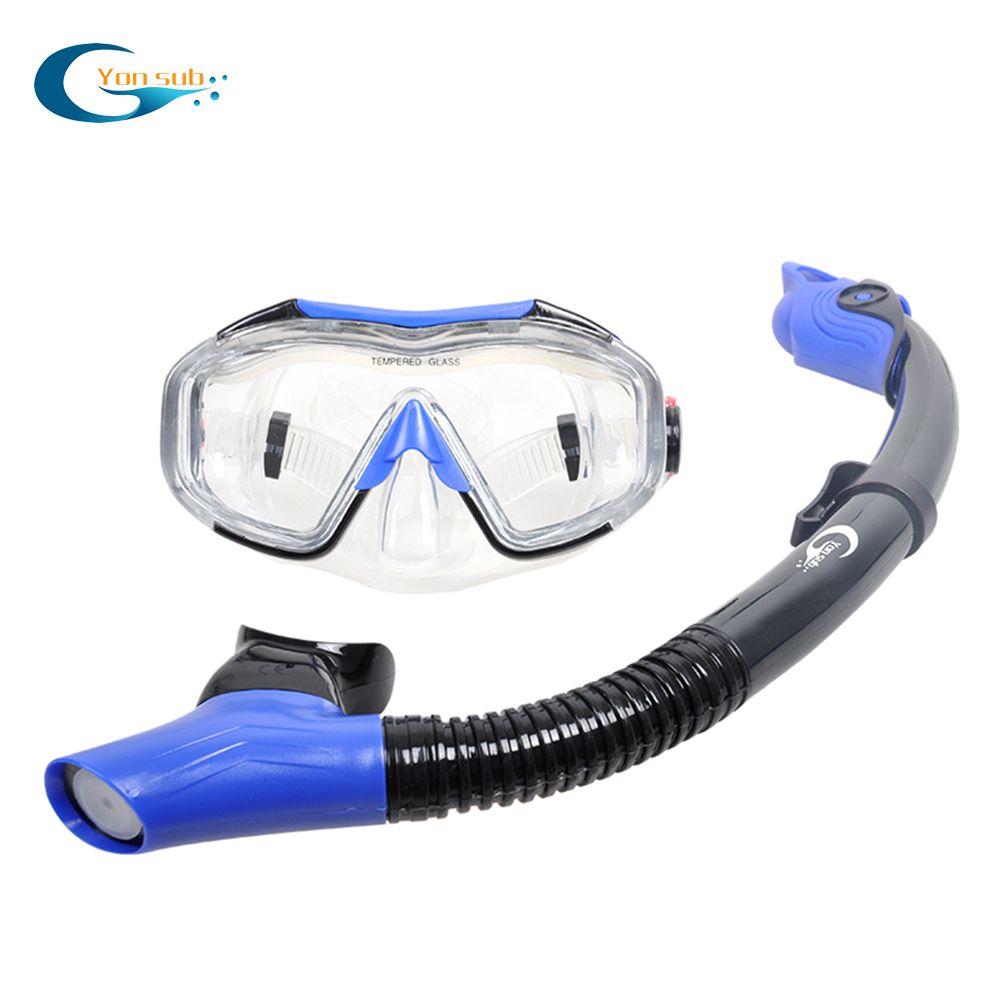 Masque de plongée sous-marine ensemble de masque de plongée sous-marine Anti-buée équipement de masque de plongée sous-marine masque de Vision large à quatre lentilles + tuba d'haleine facile