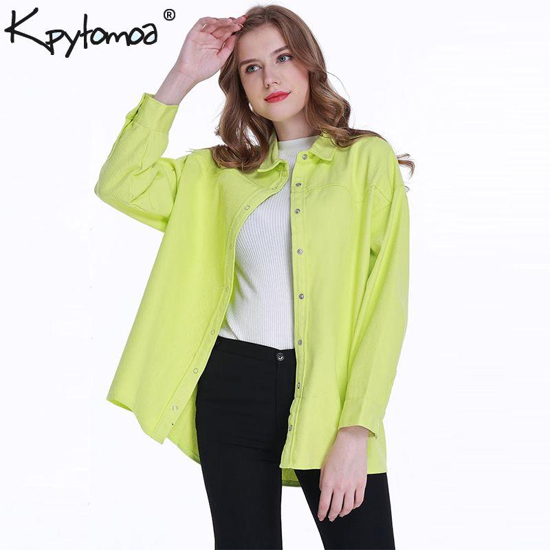 Vintage Stylish Loose Long Tops Women Shirts 2019 Fashion Lapel Collar Long Sleeve Streetwear Ladies Blouses Casual Blusas Mujer