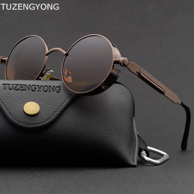 Classique gothique Steampunk lunettes de soleil polarisées hommes femmes marque concepteur Vintage rond en métal cadre lunettes de soleil de haute qualité UV400