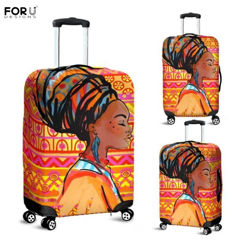 FORUDESIGNS Afrian fille aztèque motif bagages housse de protection étanche pour 18-32 Trolley valise élastique voyage pluie housses