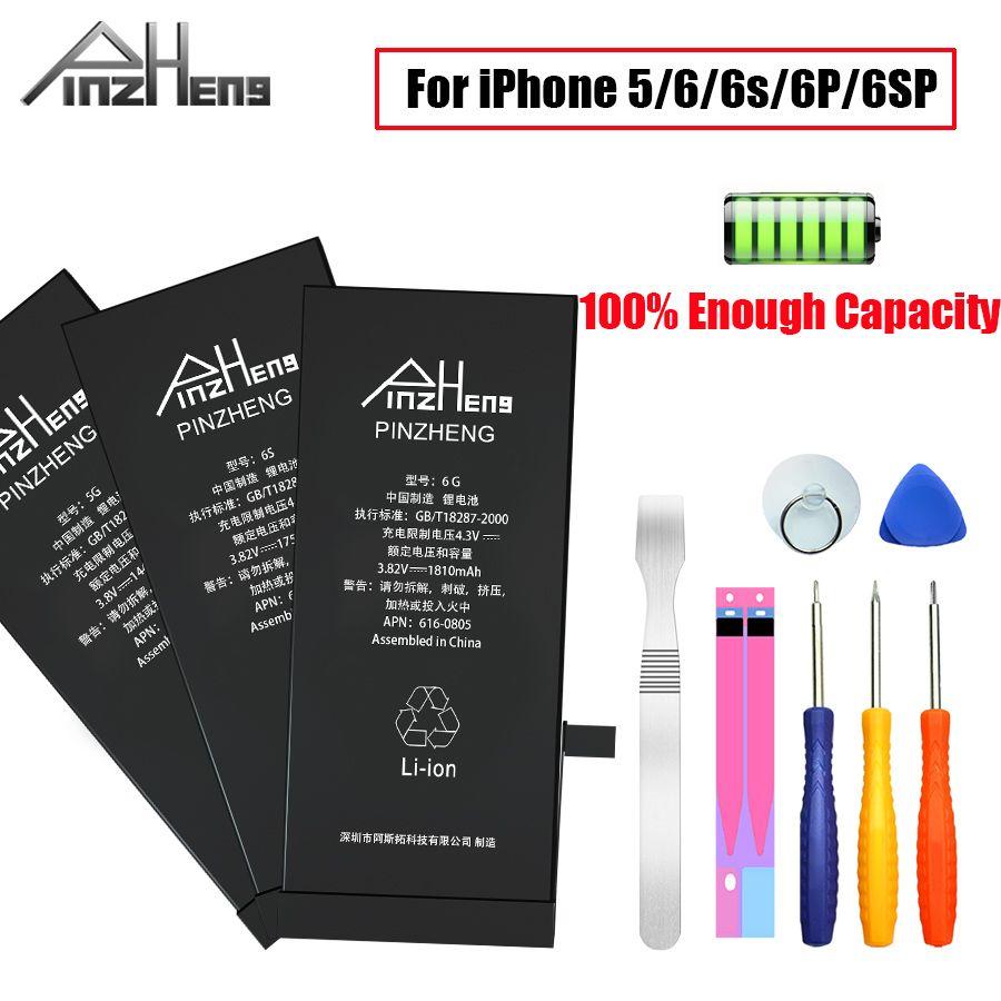 PINZHENG batterie de téléphone portable d'origine pour iPhone 6 6s Plus 5 batterie capacité réelle avec Kit d'outils de réparation et autocollant de batterie