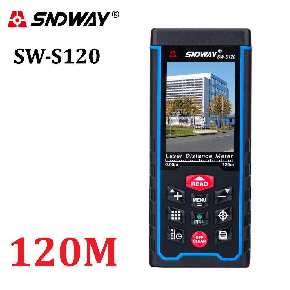 80M120M Laser Distance mètre 400ft portable télémètre ruban mesure dispositif télémètre W-TFT Lcd caméra batterie rechargeable