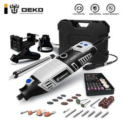 DEKO GJ201 LCD Variable Speed Rotary Tool Dremel Style Engraver Electric Mini Drill Grinder w/ Flexible Shaft 3 Sets to Choose