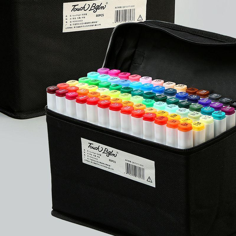 Marqueur stylo ensemble anime étudiant avec design alcool huileux débutant peinture marqueurs couleur stylo 30/40/60/80 couleur art fournitures