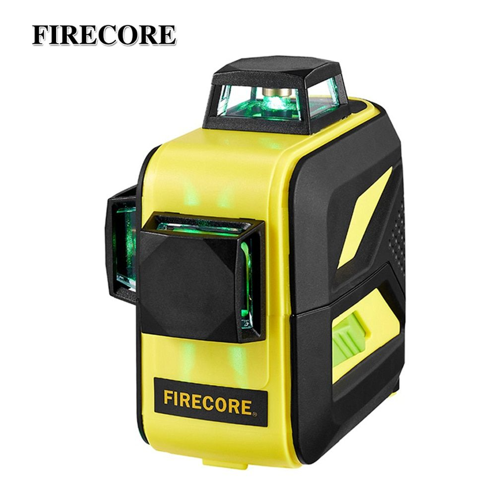 FIRECORE F93T-XG 12Lines 3D Green Laser Level LR6/Lithium Battery Self-Leveling Horizontal&Vertical Cross Lines Can Use Receiver