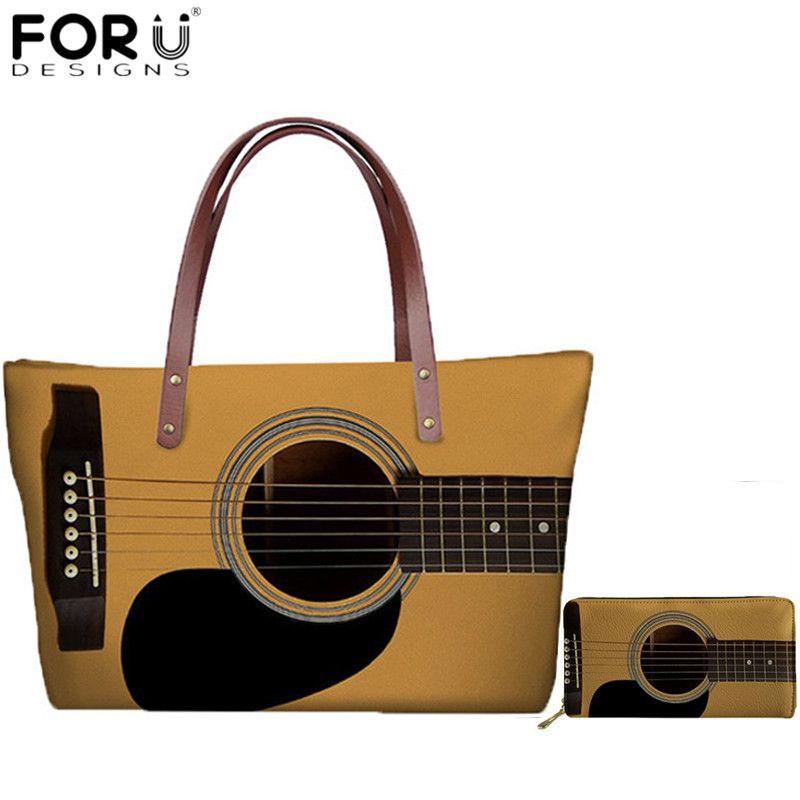 FORUDESIGNS nouveaux sacs à main de mode pour femmes amoureux de la guitare impression 3D grande capacité sacs fourre-tout pour femme sac à bandoulière voyage sac de plage