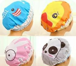 Cute cartoon shower bath cap women hat for baths and saunas lace elastic band cap spa cap women kids hair protective cap