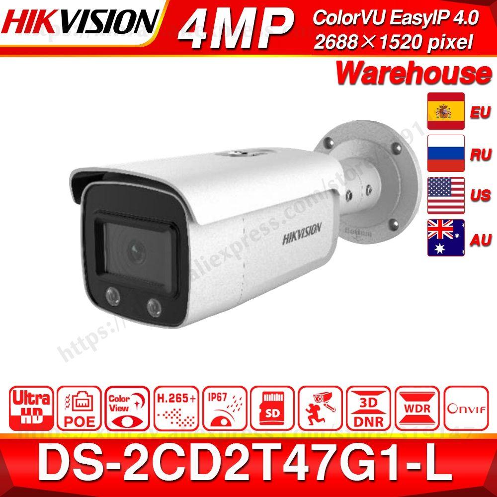 Hikvision ColorVu Original IP Kamera DS-2CD2T47G1-L 4MP Netzwerk Dome POE IP Kamera H.265 CCTV Kamera SD Card Slot