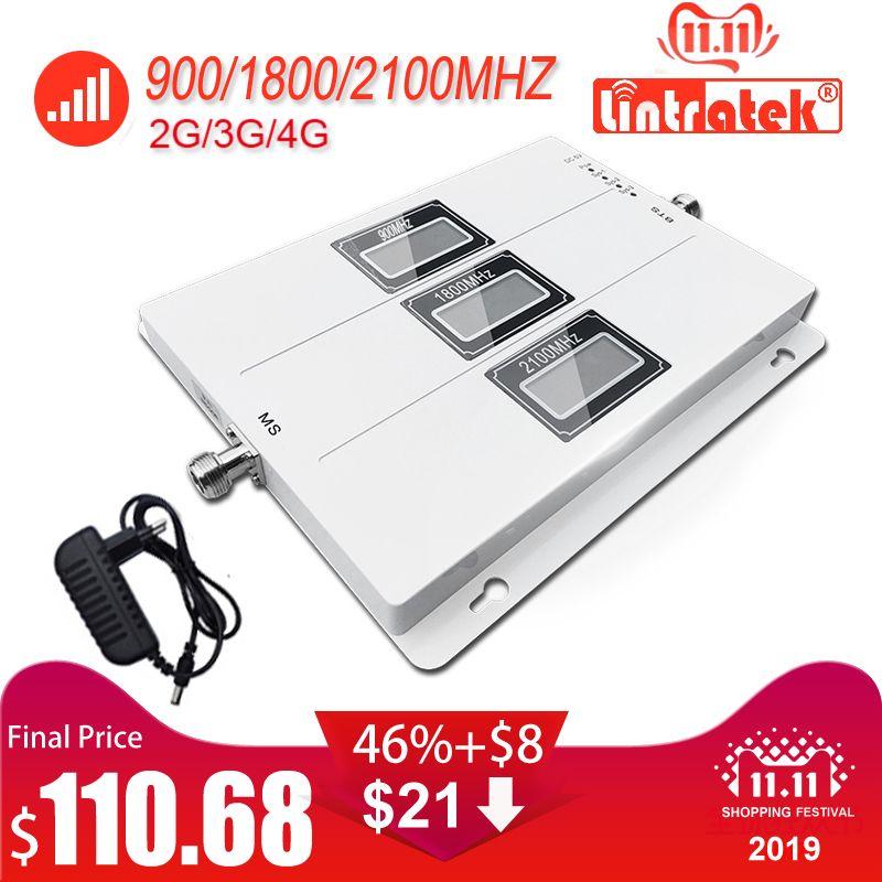 Lintratek ALC GSM 900 3G 2100 LTE 1800 Cellular Signal Booster Tri Band Repeater LCD Display Handy 4G Verstärker S8