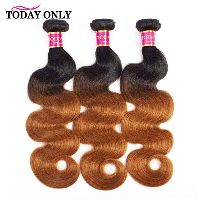 Aujourd'hui, seulement 3 paquets de vague de corps paquets de cheveux Ombre paquets de cheveux brésiliens armure de cheveux paquets Remy Extensions de cheveux humains