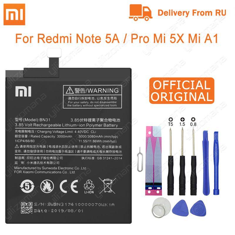 Xiao Mi Original Phone Battery BN31 for Xiaomi Mi 5X Mi5X Redmi Note 5A / Pro Mi A1 Redmi Y1 Lite S2 3000mAh Batteries + Tools