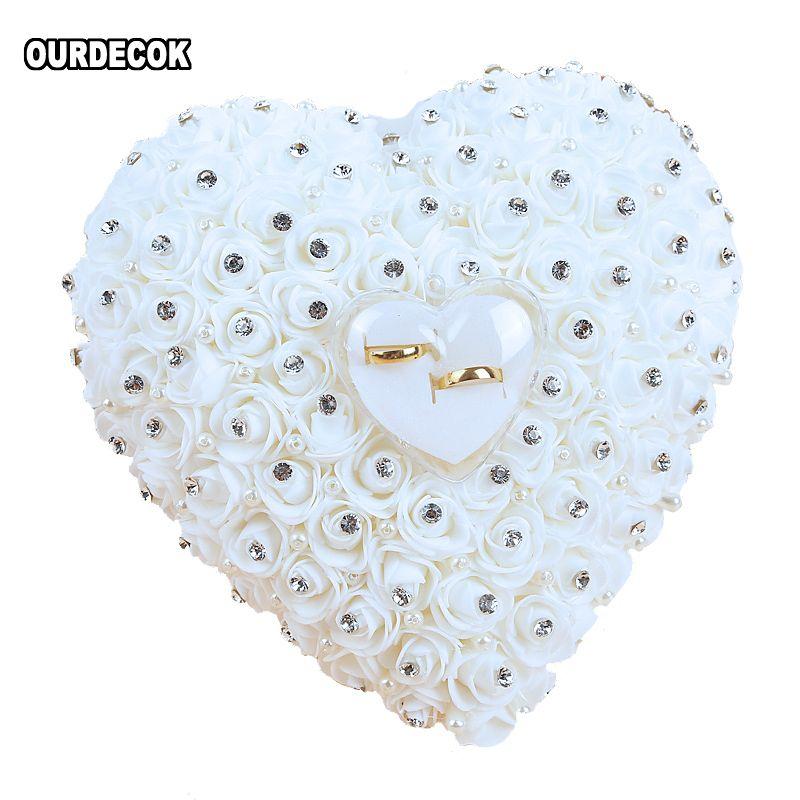 Faveurs de mariage accrocher anneau oreiller avec Transprent boîte coeur Design avec strass et perle décor bague de mariage coussin décoration