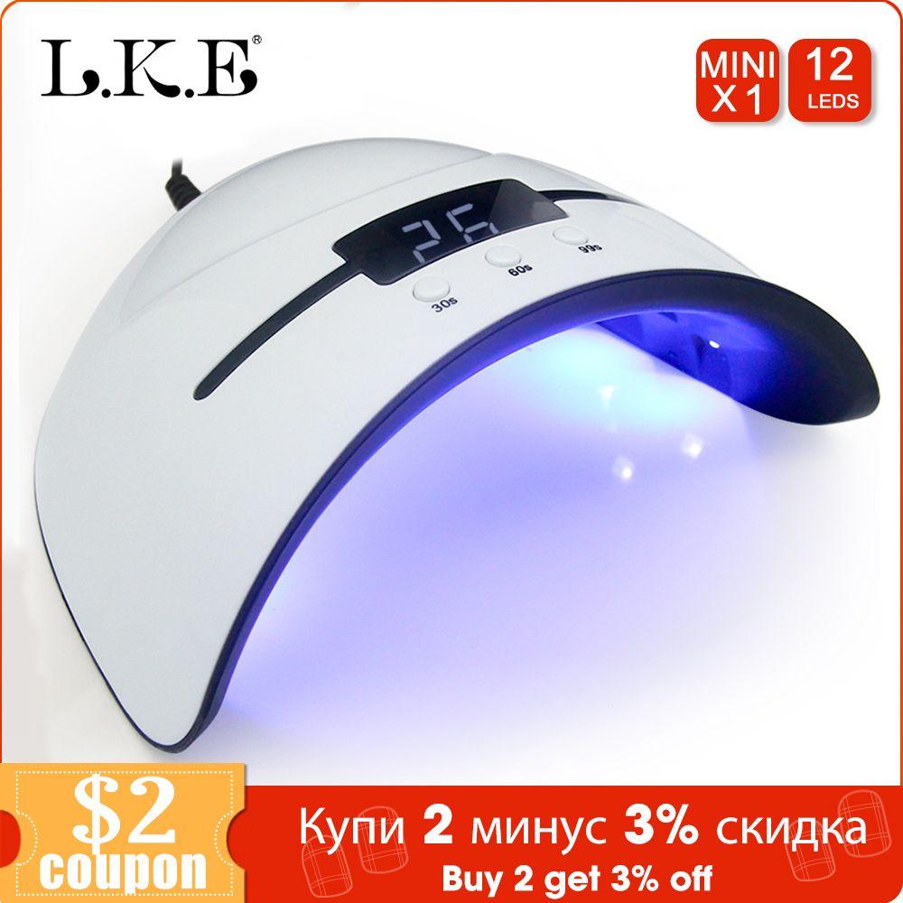 LKE 36W UV Lampe Sèche-ongles Pour Tous Les Types Gel 12leds Lampe UV pour Ongles Machine De Durcissement 30s 60s 90s Minuterie USB Portable lampes UV