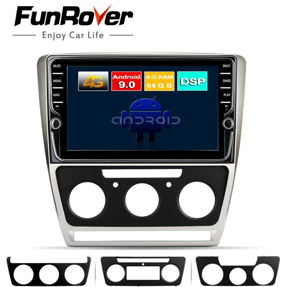 Funrover 8 core android 9.0 2 din auto-dvd-multimedia Für Skoda Octavia 2008-2013 EINE 5 A5 Yeti Fabia gps navigation Split-screen