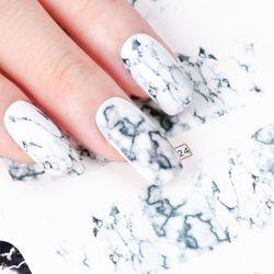 1PCS White Black Gradient Marble Nail Art Sticker Water Transfer Decal Watermark Slider Manicure Full Wrap Tool Decor JIBN624