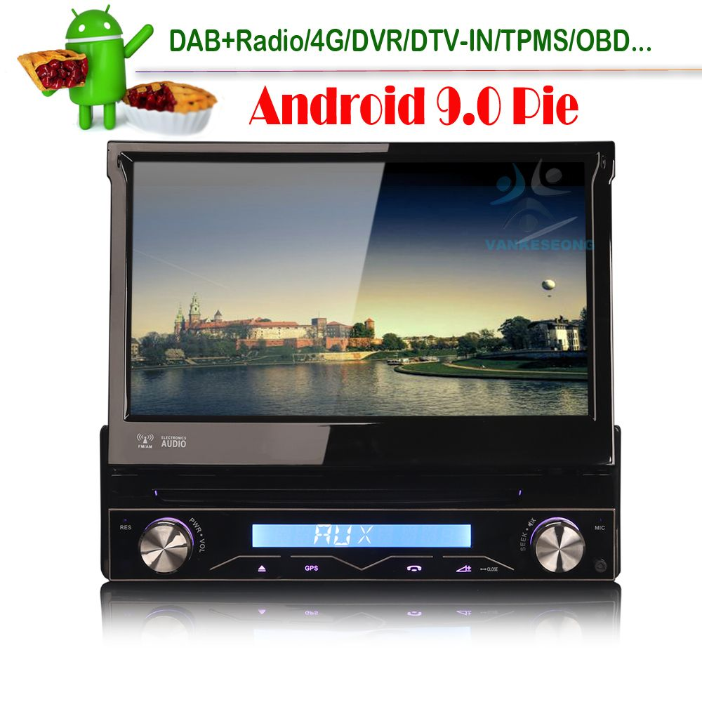 4G Android 9.0 Einzel Din Autoradio 4GB RAM Auto Radio GPS Navigaiton Bluetooth OBD DVR DTV-IN TPMS Auto In dash Stereo DAB USB SD