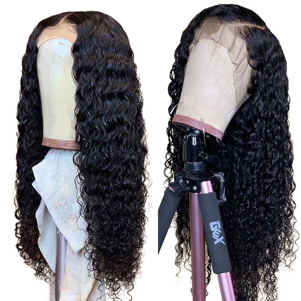 13x4 brésilien vague profonde dentelle avant perruque 10-24 pouces sans colle perruques de cheveux humains dentelle avant perruques Alimice Remy perruques pour les femmes noires