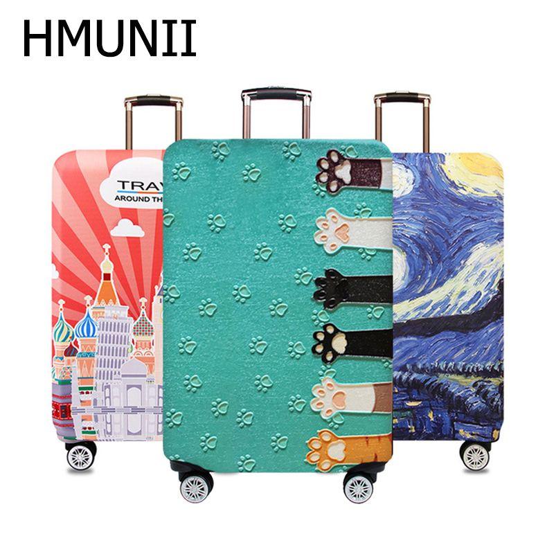 HMUNII carte du monde conception bagages housse de protection valise de voyage housse élastique housses pour anti-poussière 18 à 32 pouces accessoires de voyage